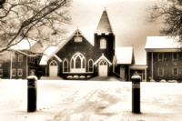 Hester Baptist Church in the Snow Sepia Landscape